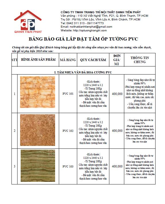 bảng giá thi công tấm nhựa pvc giả đá 2018-1