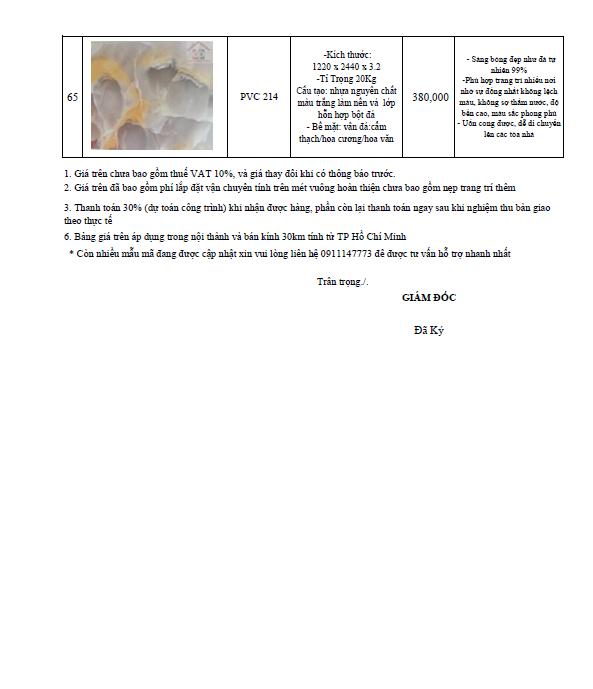 bảng giá thi công tấm nhựa pvc giả đá 2018-14