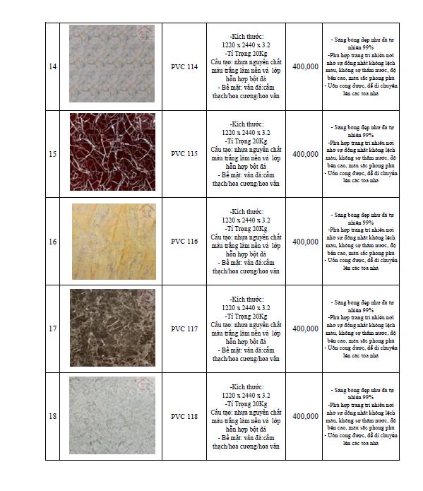 bảng giá thi công tấm nhựa pvc giả đá 2018-4