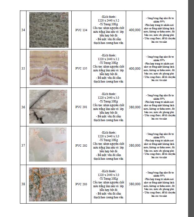 bảng giá thi công tấm nhựa pvc giả đá 2018-8